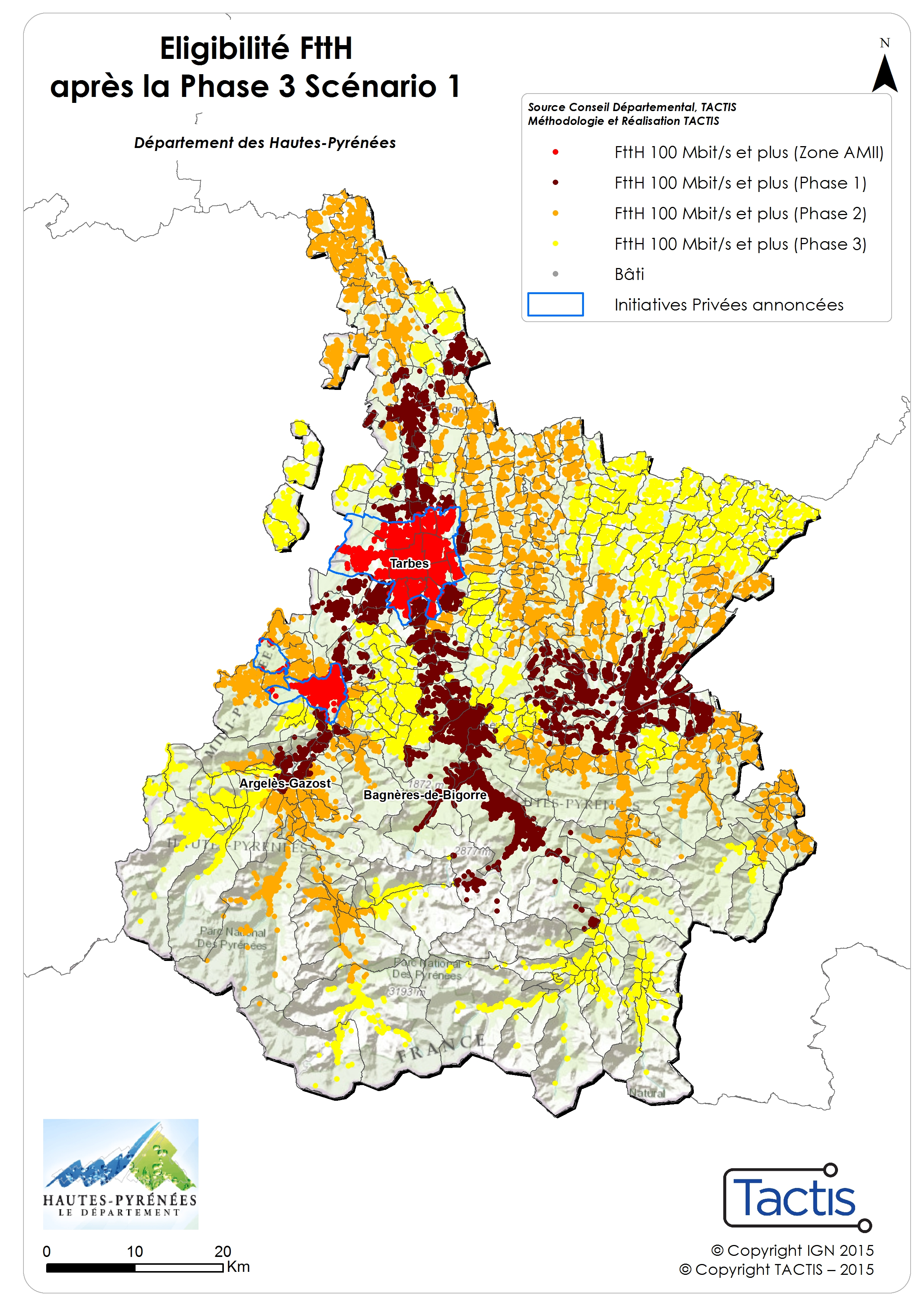 Carte du déploiement fibre optique dans les Hautes-Pyrénées